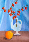 Niños todavía que dibujan vida con el Physalis de la naranja y de la rama Imágenes de archivo libres de regalías