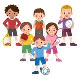 Niños a una variedad de deportes Foto de archivo
