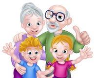 Niños y abuelos de la historieta Imágenes de archivo libres de regalías