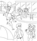 Niños y adolescencias en la piscina Imagen de archivo libre de regalías