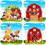 Niños y animales del campo en la granja stock de ilustración