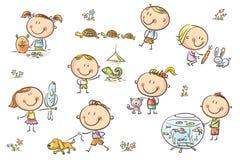 Niños y animales domésticos ilustración del vector