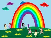 Niños y arco iris libre illustration