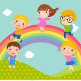 Niños y arco iris stock de ilustración