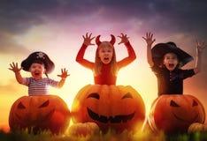Niños y calabazas en Halloween Imagen de archivo