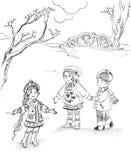Niños y doncella de la nieve Fotos de archivo