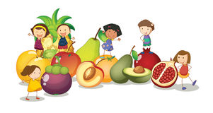 Niños y frutas Foto de archivo
