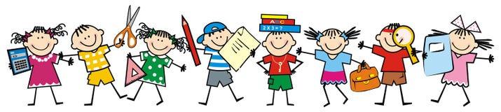Niños y fuentes de escuela felices, icono del vector libre illustration