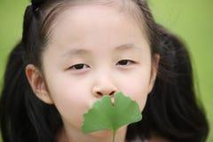 Niños y hojas Foto de archivo libre de regalías
