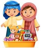 Niños y juguetes musulmanes en bandeja ilustración del vector