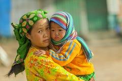 Niños y madre de la minoría étnica Foto de archivo libre de regalías