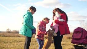 Niños y mamá, caminando así como su perro almacen de video