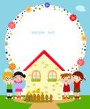 Niños y marco ilustración del vector