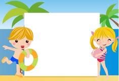 Niños y marco del verano Fotografía de archivo libre de regalías