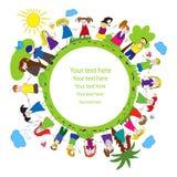 Niños y marco verde del planeta Imagen de archivo