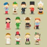 Niños y nacionalidades del vector del mundo: Europa fijó 1 Fotografía de archivo libre de regalías
