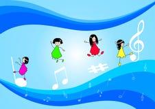 Niños y notas de la música Imagenes de archivo