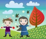 Niños y otoño Fotografía de archivo