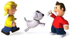 Niños y perro stock de ilustración