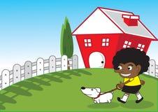 Niños y perro del Afro. Imagen de archivo libre de regalías