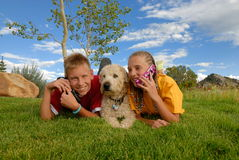 Niños y perro en prado Fotografía de archivo