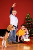 Niños y perro que se sientan por el árbol de navidad Foto de archivo