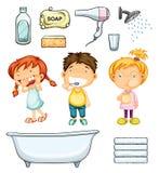 Niños y sistema del cuarto de baño ilustración del vector