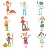 Niños y sus trabajos ideales libre illustration