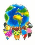 Niños y tierra ilustración del vector
