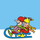 Niños y trineo Imagen de archivo libre de regalías
