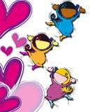 Niños y un corazón stock de ilustración