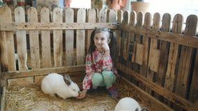 Ni?a en un zoo-granja en la pajarera con los conejos almacen de metraje de vídeo