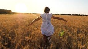 Ni?a feliz que juega y que baila en el campo del trigo maduro contra un valle hermoso, c?mara lenta almacen de video