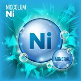 Ni Niccolum Vector. Mineral Blue Pill Icon. Vitamin Capsule Pill Icon. Substance For Beauty, Cosmetic, Heath Promo Ads. Design. Mineral Complex With Chemical Stock Photo