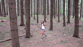 Ni?o que camina en el bosque, naturaleza al aire libre del ni?o, muchacha que juega en aventura que acampa almacen de metraje de vídeo