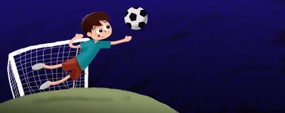 Dibujo niño jugando al fútbol de portero de noche Stock Photo