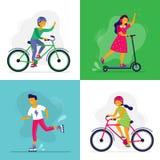 Ni?os patinadores Los ni?os montan la bici, rollerblades y la vespa Ni?os de Rollerblading, amigos que montan junto vector stock de ilustración