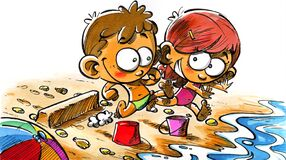Free Niños Pequeños Corren Por La Playa Jugando Royalty Free Stock Photos - 184202998