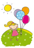 Niña con los globos Fotos de archivo libres de regalías