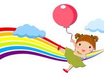 Niña con los globos Imágenes de archivo libres de regalías