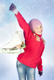 Niña con los patines Foto de archivo libre de regalías