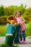 Niña con una cesta de manzanas Imagen de archivo