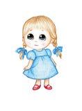 Niña linda en alineada azul Fotografía de archivo libre de regalías