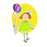 Niña linda que se ejecuta con los globos Fotos de archivo libres de regalías