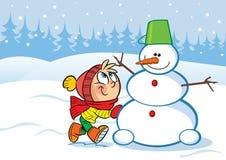 Niña y muñeco de nieve Imagen de archivo libre de regalías