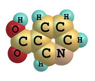 Niacin (B3) molecular structure on white background Stock Photo