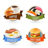 Śniadanie etykietki Ustawiać Fotografia Royalty Free