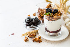 Śniadanie - granola, jogurt, jagody, banatka Obrazy Stock