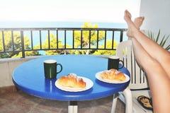 Śniadanie na balkonie Obraz Royalty Free