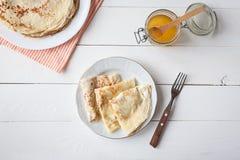 Śniadanie z blinami i miodem Obraz Stock